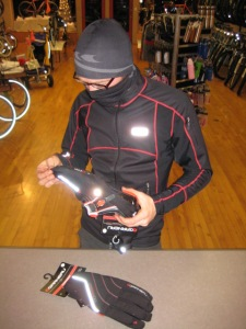 Rusty inspects the LG neck warmer, hat, Enerblock jacket, T-cover, and Tornado gloves - all at once.